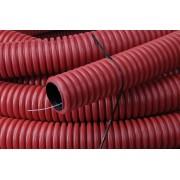 Kabelflex flexibele buis rood 90mm x 50m inclusief nylon trekkoo