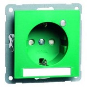 NOVA wcd, insteekcontacten en randaarde LED, tekstveld, groen D 20.6511.422 LED/4 NA